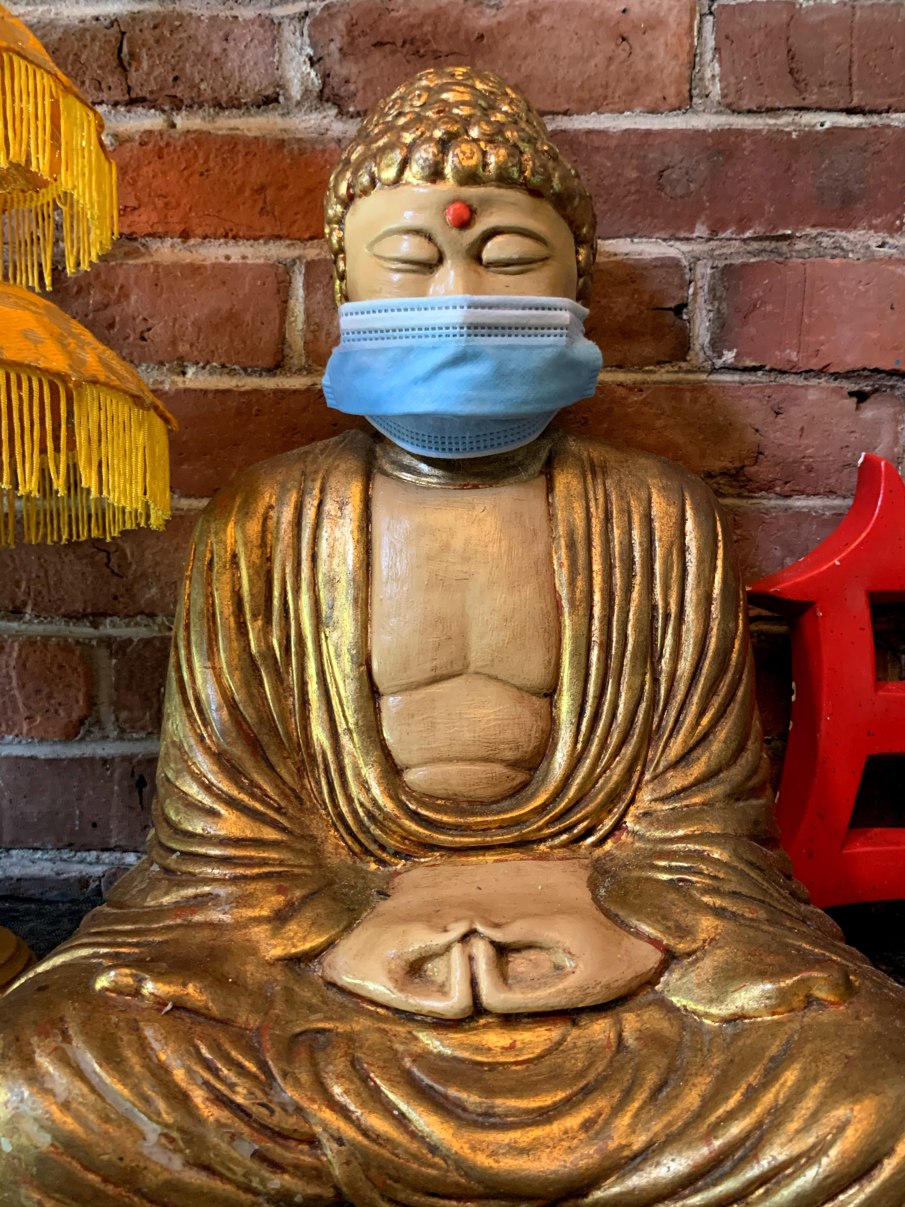 buddha with face mask